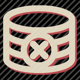 data, database, delete, remove, storage icon