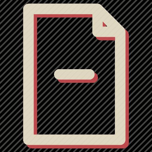 document, extension, file, minus icon