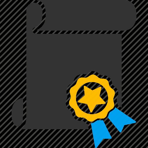 application, attest, certificate, college, diploma, graduation, license icon