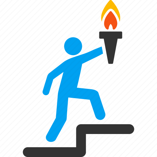 businessman, guide, lead man, leader, management, manager, torch icon