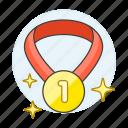 1, badge, coin, gold, medal, number, one, rewards, sparkle, star