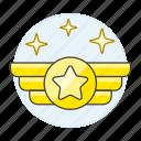 ranking, star, rank, insignia, rewards, circle, wing, gold, air, badge
