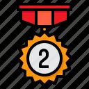 medal, reward, badge, award, second