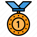 medal, reward, first, badge, award