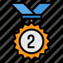 medal, second, reward, badge, award