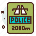 distance, police, transport, travel icon