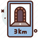 distance, transport, travel, tunnel icon