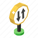 two way traffic, road indicator, two way sign, road symbol, road sign icon