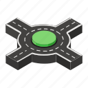 road indicator, road sign, road symbol, roundabout, traffic circle