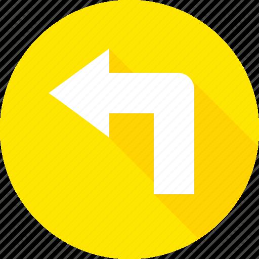 left, sign, turn, warning icon