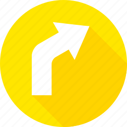 curve, right, sign, warning icon