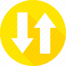 arrow, sign, traffic, two, warning, way icon