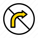 restricted, right, turn, direction, sign