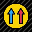 up, arrow, forward, road, sign