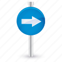 arrow, blue, direction, right, sign icon