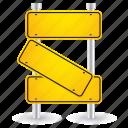 broken, sign, road, shape, yellow