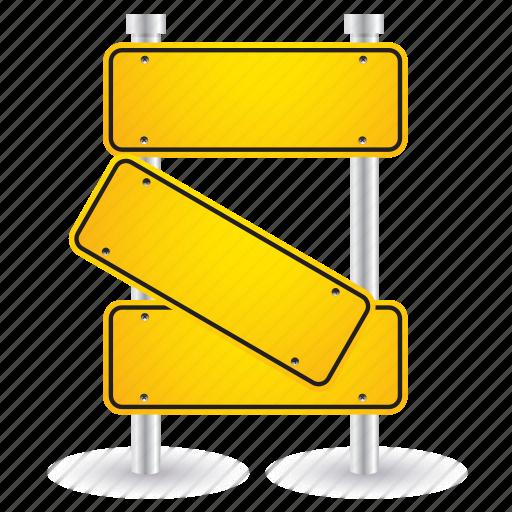 broken, road, shape, sign, yellow icon