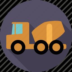 automotive, concrete, construction, transport, truck, vehicle icon