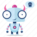 emoji, emoticon, evil, robot, sticker