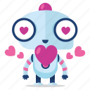 emoji, emoticon, love, robot, sticker
