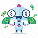 emoji, emoticon, money, robot, sticker