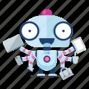 emoji, emoticon, multitasking, robot, sticker icon