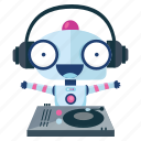 dj, emoji, emoticon, music, robot, sticker