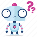 robot, emoji, sticker, emoticon, question