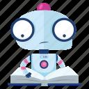 emoji, emoticon, reading, robot, sticker