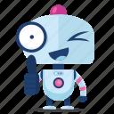 emoji, emoticon, robot, sticker, thumbs, up icon