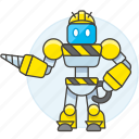 ai, construction, driller, factory, hard, hat, robot icon