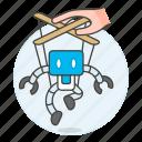 ai, control, controlable, human, machine, puppet, robot icon