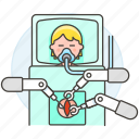 1, ai, arm, male, medical, operation, robot, surgeon, surgery icon