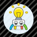 ai, idea, learning, lightbulb, machine, ml, robot, scientific, think icon