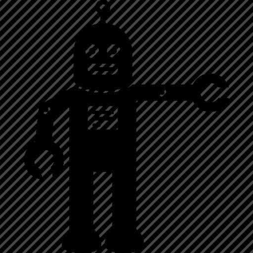 action, robot icon