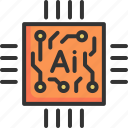 artificial, circuit, computer, digital, intelligence, mainboard, technology icon