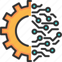 circuit, gear, innovation, intelligence, solution, technology, wheel icon