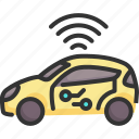 autopilot, car, driverless, future, technology, vehicle, wireless icon