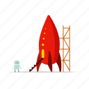 astronomy, robot, rocket, space, spaceship, startup, sticer icon