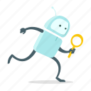 find, look, magnifier, robot, run, search, sticer icon