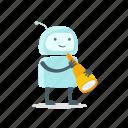 astronomy, humanoid, robot, spyglass, sticer, telescope icon
