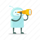 astronomy, find, robot, search, spyglass, sticer, telescope icon