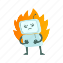 android, angry, error, fire, flame, robot, warning