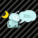 android, energy-saving, moon, night, robot, sleep, sticer icon