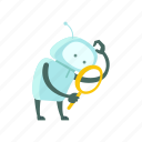color, find, magnifier, robot, search, set, sticer icon