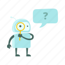 find, magnifier, questions, robot, search, sticer icon