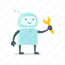 repair, robot, service, sticer, support, tool, wrench icon