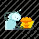 crash, error, explosion, laptop, robot, sticer icon