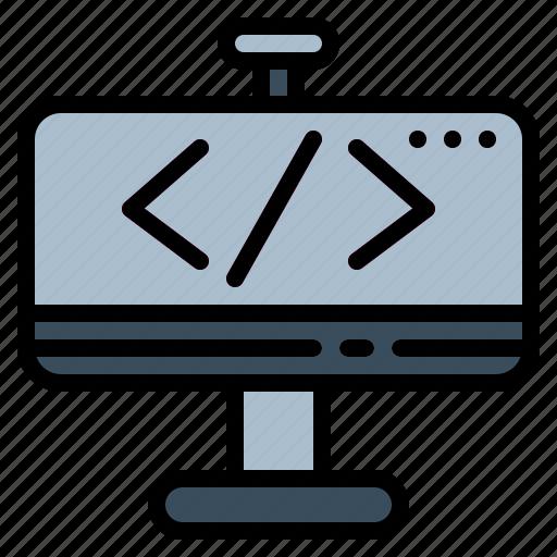 coding, computer, multimedia, screen icon