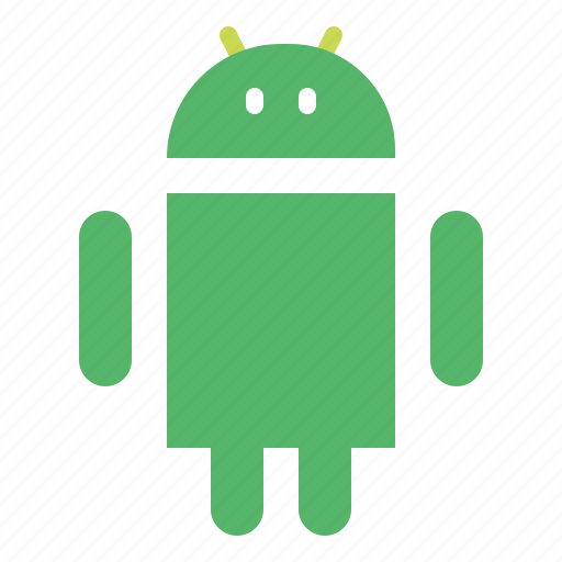 android, logo, outline, social icon